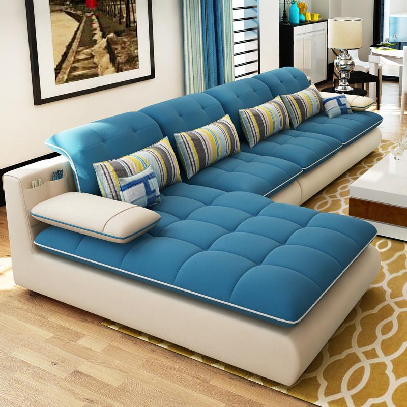 楚梵 沙发 布艺多功能组合沙发 客厅沙发组合家具 休闲转角沙发脚踏