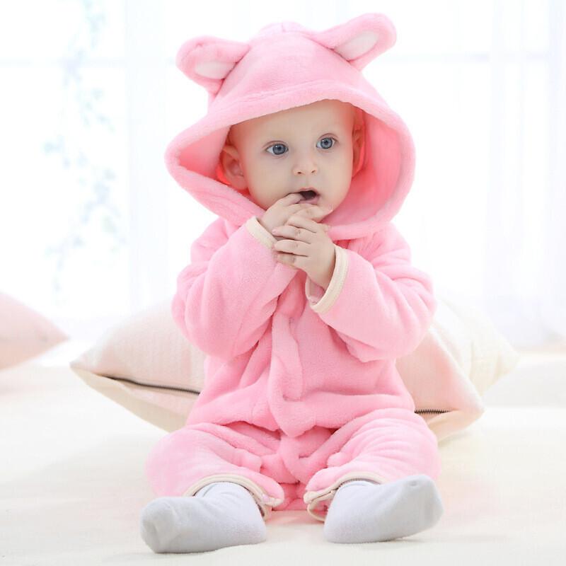 婴儿2017秋季新款法兰绒小熊动物造型爬服宝宝连体衣