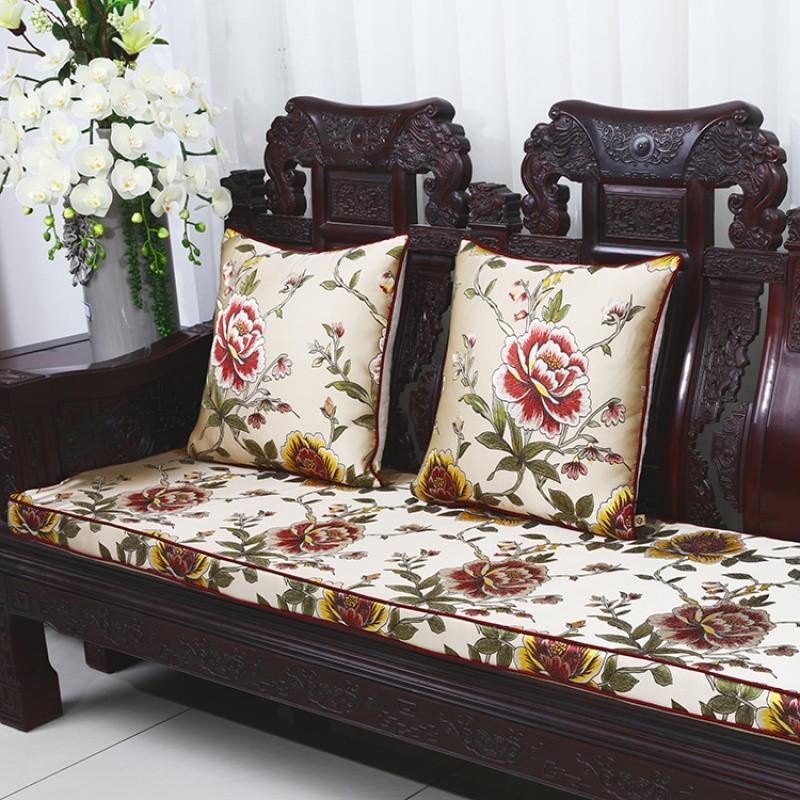 新中式花鸟实木沙发坐垫红木椅子垫加厚海绵座垫椅垫定做_1 50*120cm图片
