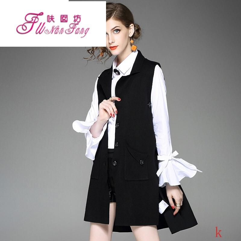 ssxoiw2017秋装新款欧美时尚纯色无袖马甲单排扣针织开衫拼接中长款