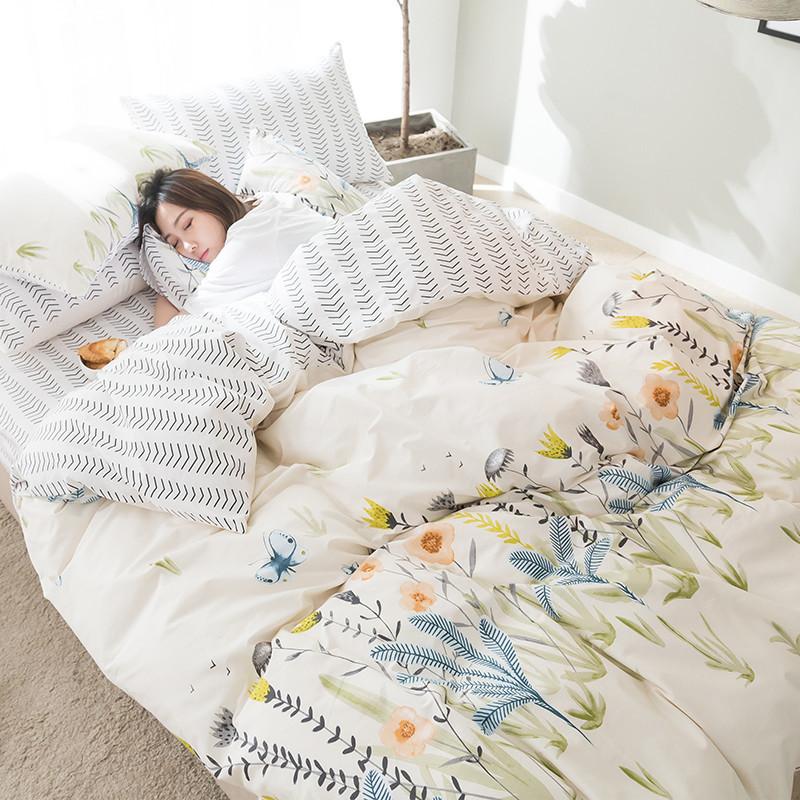 全棉四件套卡通小清新北欧可爱宿舍3/4件套纯棉床上用品_2 2.0m(6.