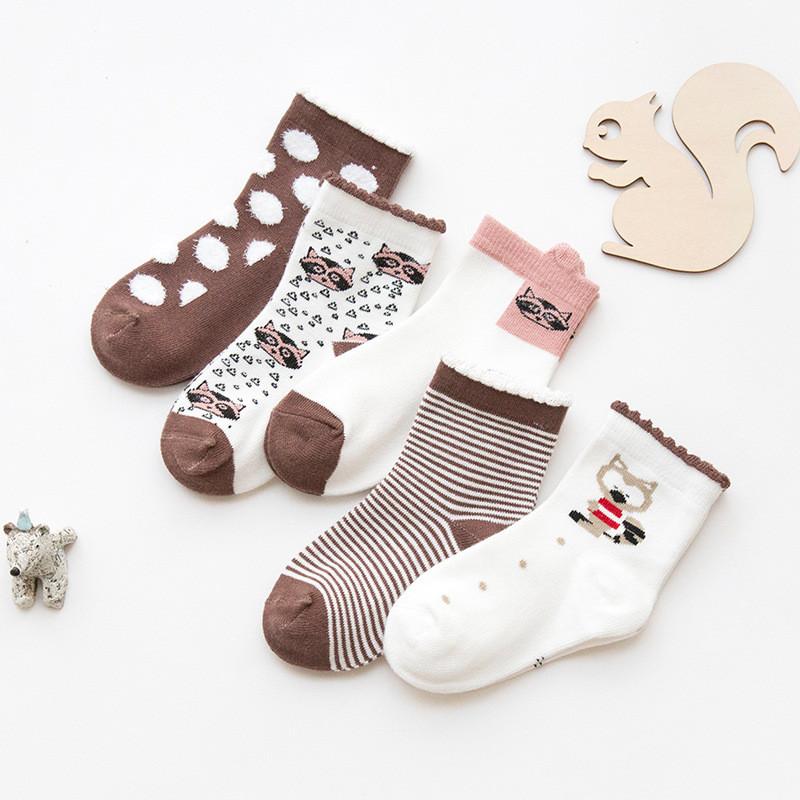 物有物语 儿童袜子 秋冬季新款时尚百搭可爱棉质男童女童条纹中筒袜(5