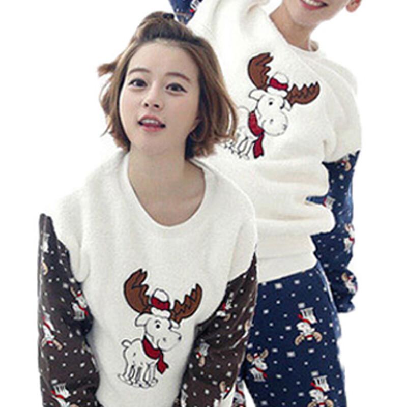 冬季韩版法兰绒情侣卡通圆领套装小鹿可爱男女睡衣套装_3 女5 男款