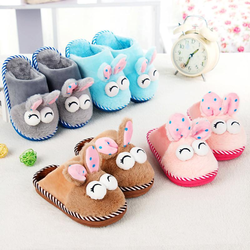 冬季卡通可爱儿童棉拖鞋女童男童小孩保暖棉鞋包跟厚底防滑棉拖鞋