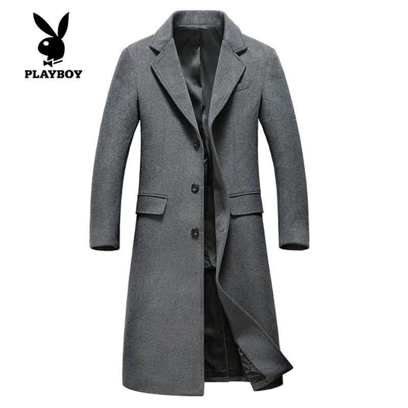 秋冬新款羊毛呢大衣加長厚款商務休閑修身中青年男士外套風衣s1851 m圖片