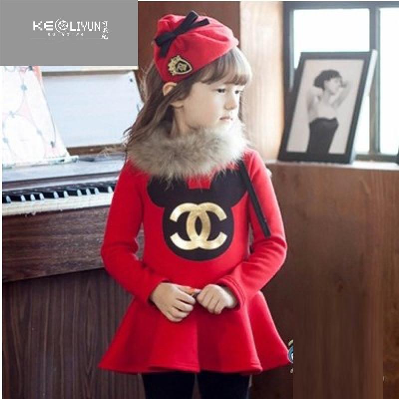 2017韩国儿童女童长袖连衣裙秋装加绒米老鼠可爱公主裙童装 120cm领标
