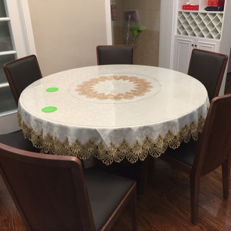 圆桌桌布布艺田园蕾丝欧式圆台布圆茶几桌布盖布转盘
