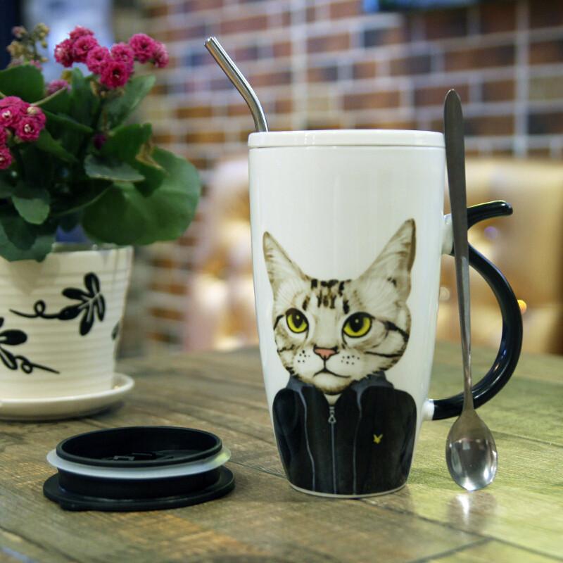 可爱马克杯创意大容量陶瓷杯带盖勺子办公室喝水杯咖啡杯家用杯子n