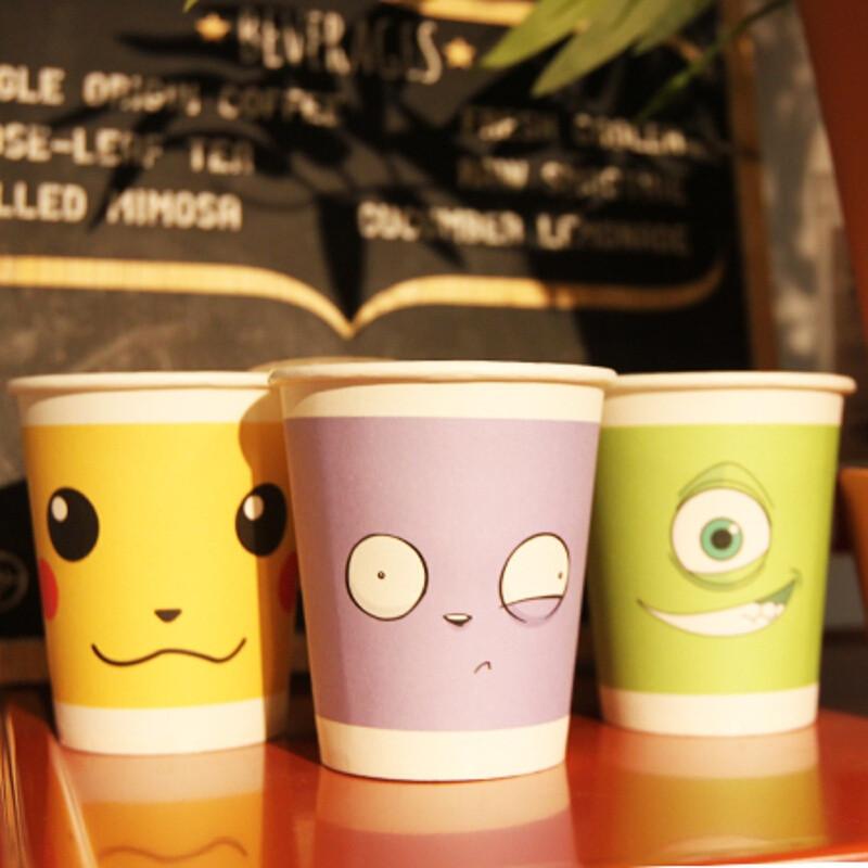 一次性卡通纸杯可定做订制可爱彩色水杯子加厚办公家用100只 创意纸杯