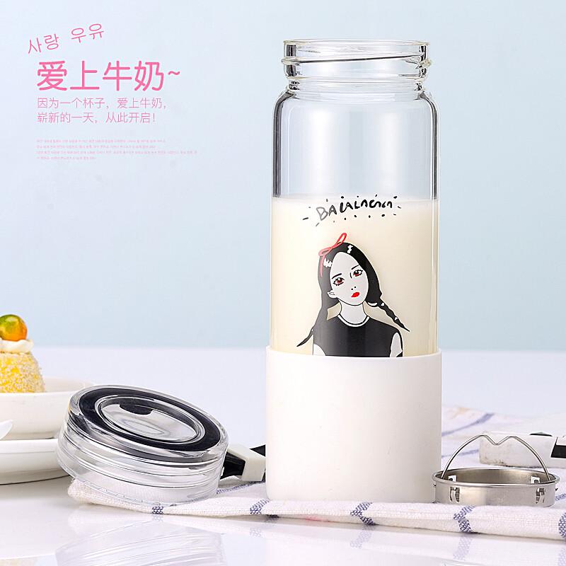 韩国便携清新玻璃杯韩版可爱简约随手杯女学生创意潮流情侣水杯子c