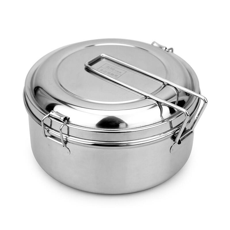 蒸饭盒不锈钢饭盒圆形双层食堂饭缸铁饭盒便当盒学生带盖c 16cm 勺(送