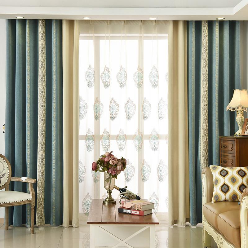 窗帘遮光落地窗欧式客厅带纱拼色双层纱帘遮光卧室成品_2 3*2.