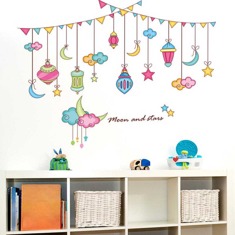 可移除墙贴纸贴画儿童房间童话梦幻彩带卡通吊球吊坠星星月亮水晶_3