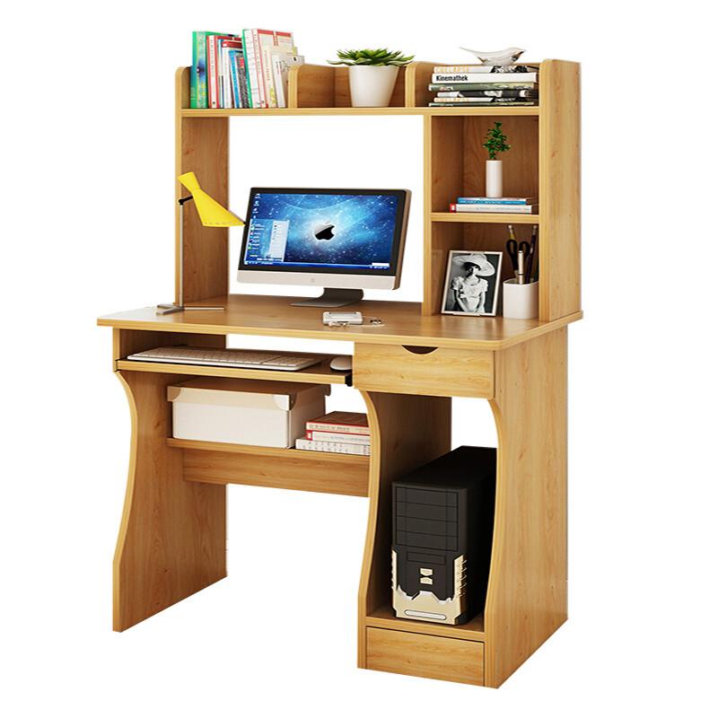 doxa电脑桌台式小桌子书桌书架组合简约家用卧室简易写字桌 a款黄梨木