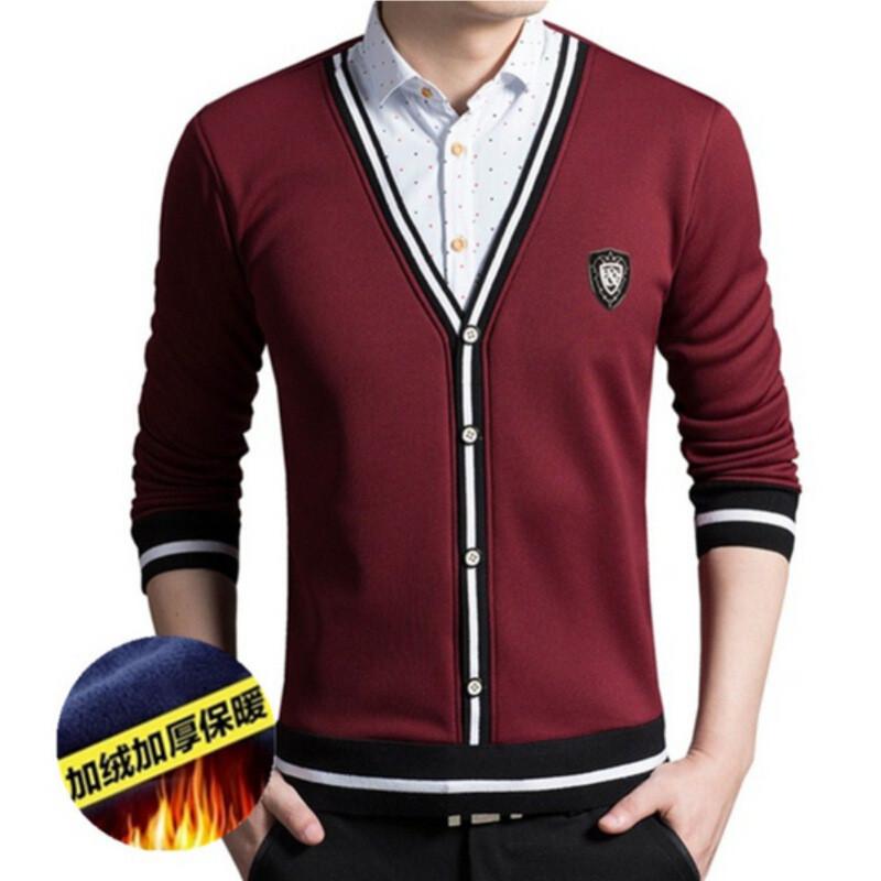 长袖衬衫加绒加厚保暖衬衫男士商务休闲假两件针织衫毛衣男秋冬新款