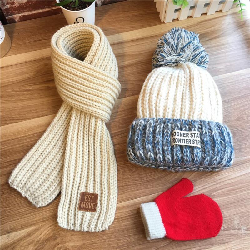 三件套秋冬儿童毛线帽子围巾男孩女宝宝婴儿纯棉针织套头护耳帽潮三