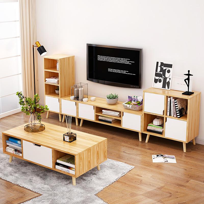 亿家达 电视柜茶几组合套装 实木脚 简约北欧电视机柜图片