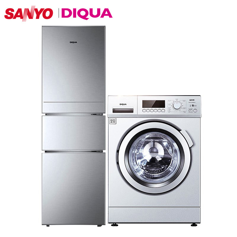 三洋8公斤变频滚筒洗衣机+帝度220升三门冰箱 套餐组合