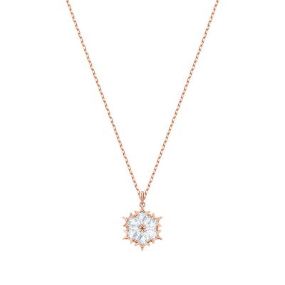 Swarovski 施华洛世奇镀玫瑰金色唯美雪花浪漫百搭人造水晶项链 5428431