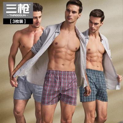 [3条装]三枪纯棉内裤男阿罗裤春夏格纹平角裤宽松大码男士四角裤 50435B0
