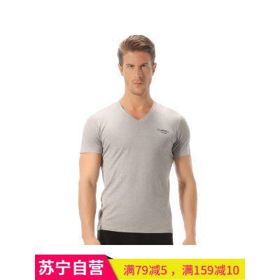 七匹狼多色男士絲光棉V領短袖 T恤