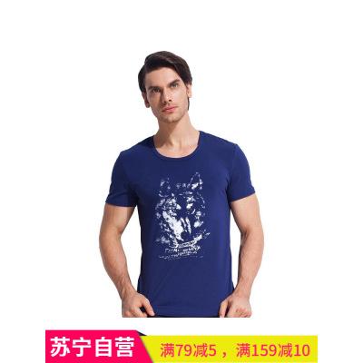 七匹狼男士棉氨大狼頭印花圓領短袖 T恤