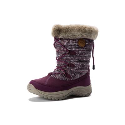 羽絨防水 女款紫色雪地靴 抗寒蓄暖