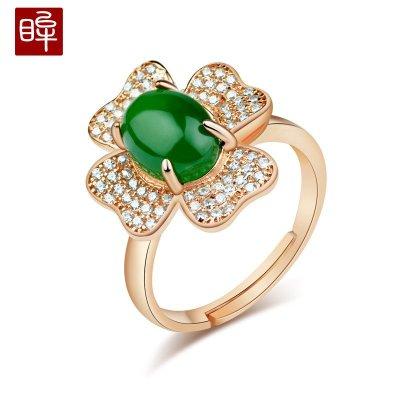 印象眸 金鑲和田玉s925銀鍍玫瑰金碧玉戒指女款 玉石指環可調節