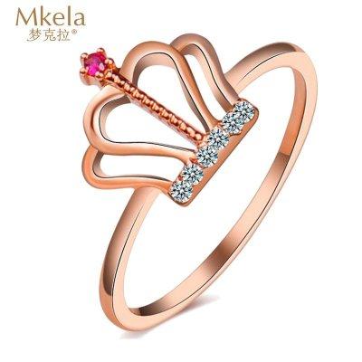 梦克拉Mkela 18k钻石红宝石戒指 玫瑰金 王冠 k金钻石刚玉指环 女士