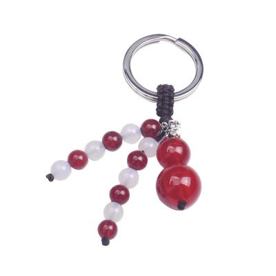 夢克拉Mkela S925銀搭配紅瑪瑙葫蘆造型鑰匙扣掛件 一路平安 紅白瑪瑙平安葫蘆 汽車鑰匙扣 男士 擺件 瑪瑙