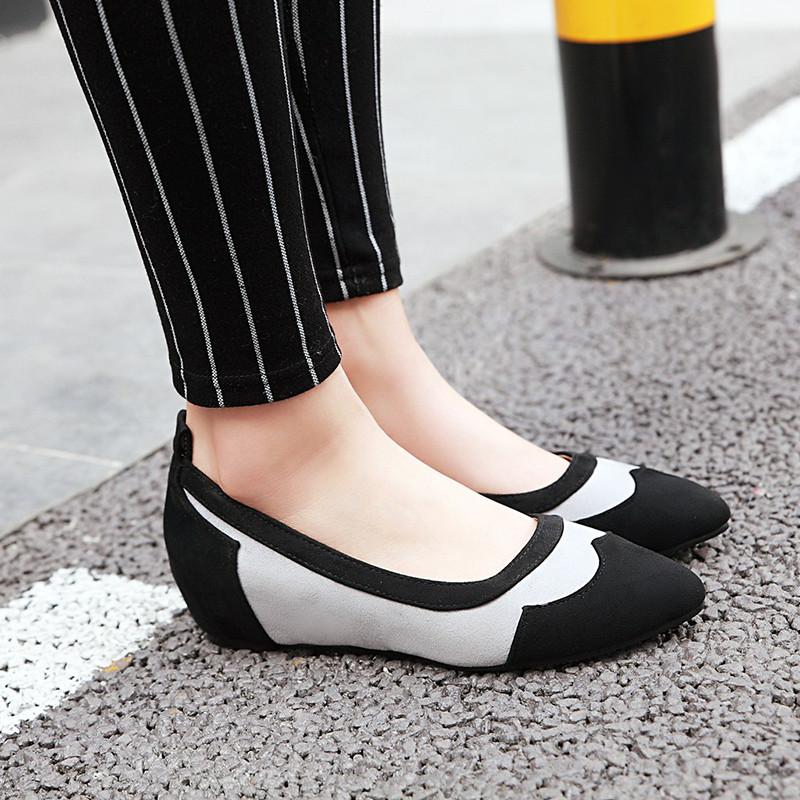 尖头内增高单鞋