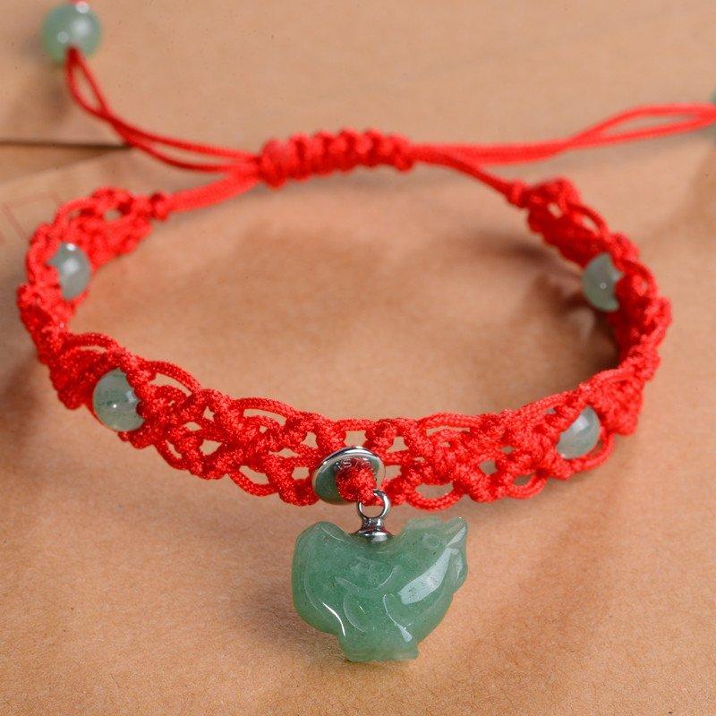 石头记 十二生肖之鸡 东陵石手链红绳编织