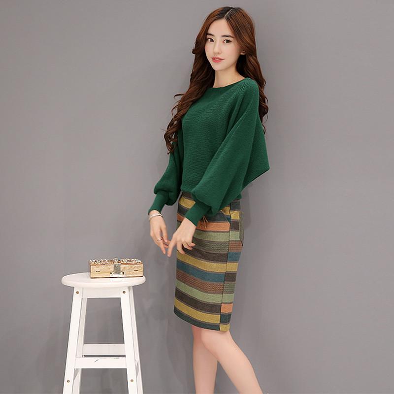 秀族毛衣套装女2016秋冬新款韩版蝙蝠袖针织衫毛呢包臀裙套装两件套xz