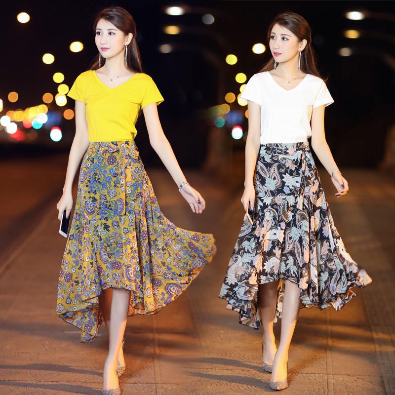 秀族 韩版v领碎花两件套雪纺连衣裙女2017夏季 短袖t恤时尚套装套裙图片