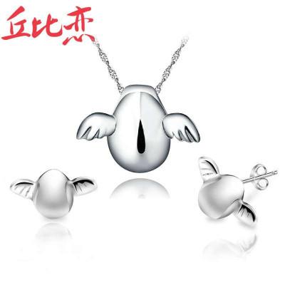 丘比恋 天使蛋 925银套装 项链+耳钉 女士 送女朋友生日礼物 时尚饰品