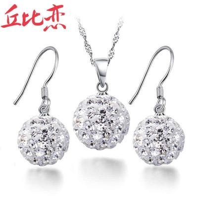 丘比恋 925纯银 璀璨人生套装 耳环 项链 女 时尚饰品 韩版 生日礼物