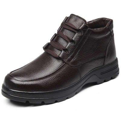 米斯康MR.KANG冬季新款男士棉鞋保暖鞋休闲棉皮鞋棉鞋男软皮头层牛皮高帮鞋5508