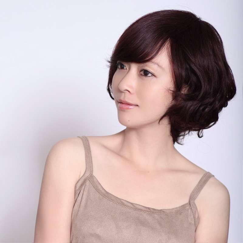 玫瑰雨 真发假发 假发女生短发 时尚可爱短卷发 头顶心手织