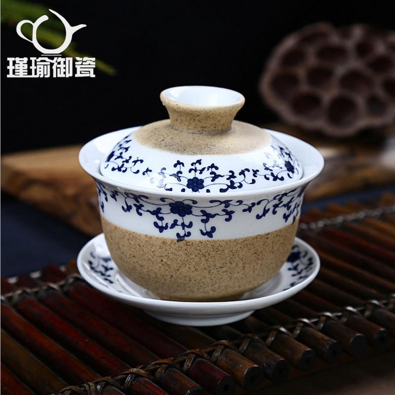 瑾瑜御瓷粗陶手绘日式青花陶瓷功夫茶具过滤茶杯套装手工盖碗杯子