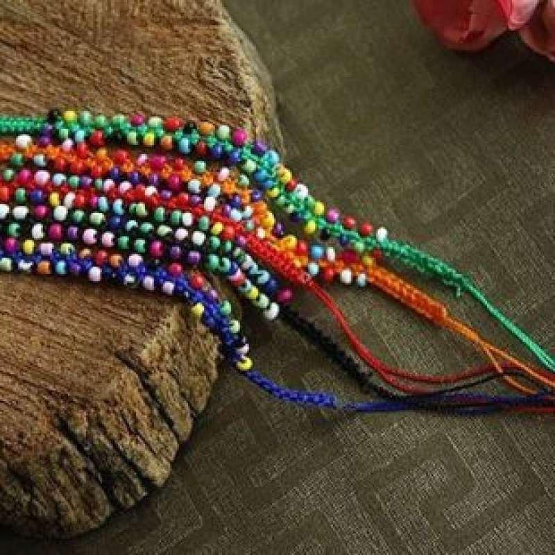 波西米亚时尚混搭彩线编织手链(5条) 简约多彩手串 最