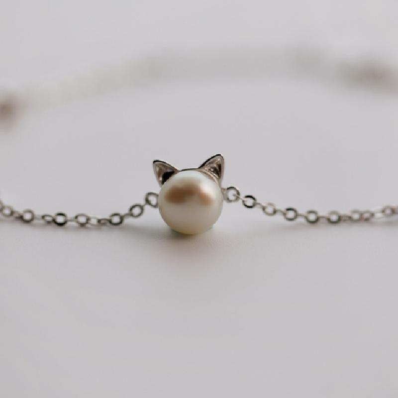 迈姿 新款可爱甜美925纯银(珍珠猫耳朵手链)首饰 银饰品