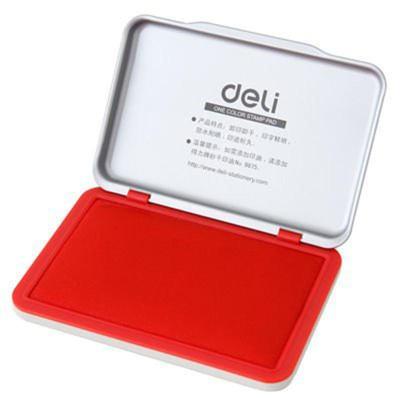 得力(deli)9892 秒干中号印台金属外壳高档印泥财务用品 红色