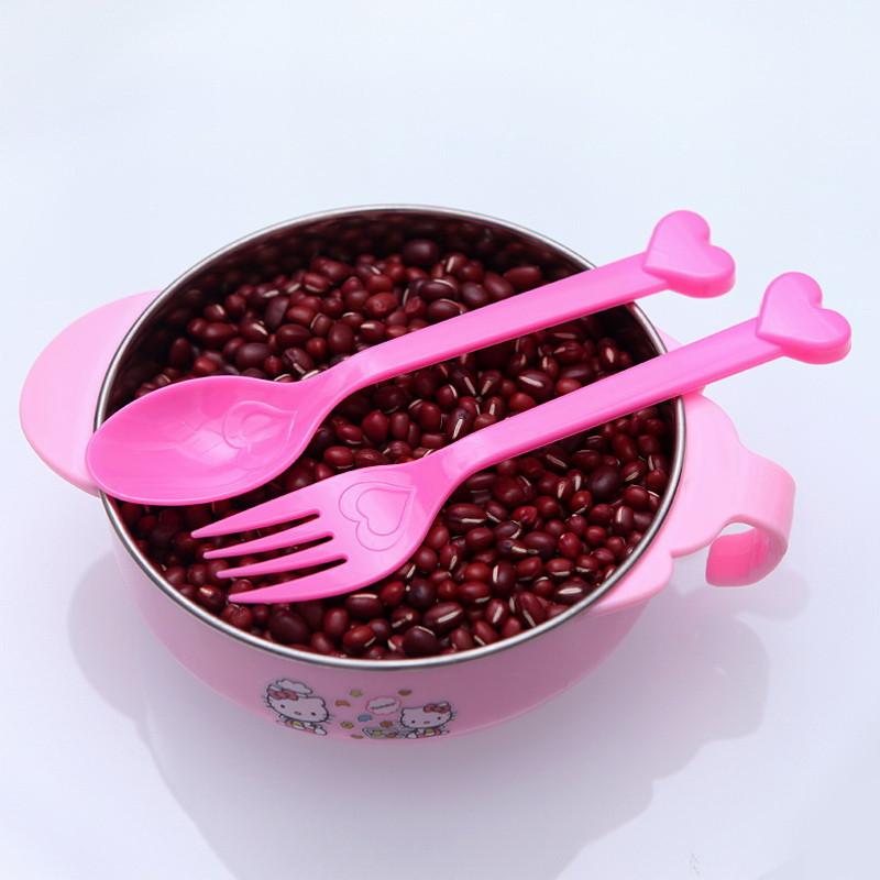 可爱爱心蛋糕甜点水果叉勺套装儿童饭勺叉子组合宝宝调羹汤勺8个