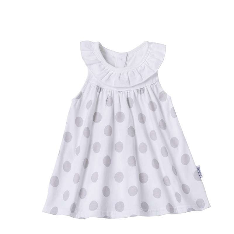 贝贝怡 夏季新款 女宝宝背心裙婴儿裙子 荷叶领圆点背心裙142q008