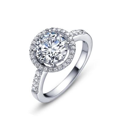 Anytime S925银女士戒指 大圆盘镶钻石2克拉戒子 R0301