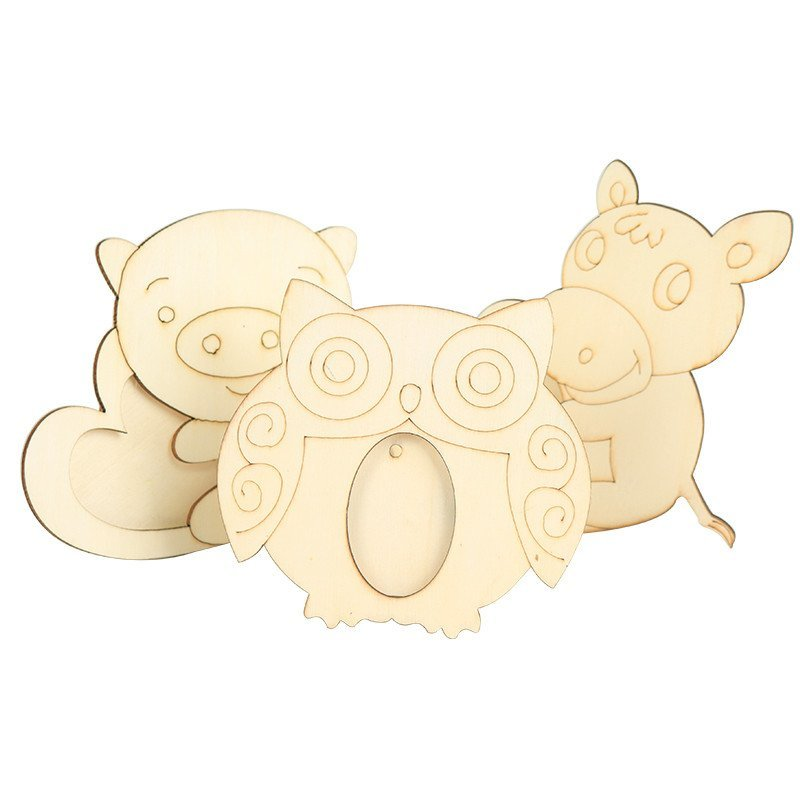 儿童diy木质白坯相框幼儿园创意手工材料雪花泥珍珠泥