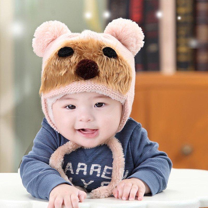 公主妈妈韩版男女毛线帽子宝宝帽小清新童帽小熊加绒护耳帽3893