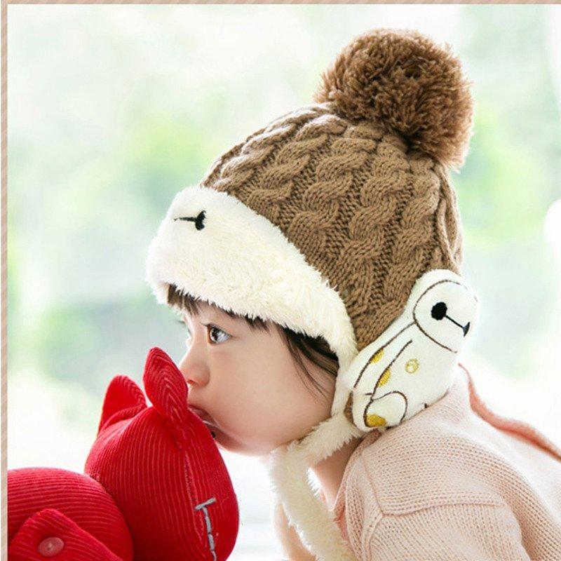 公主妈妈冬季新款宝宝帽子婴儿童帽子冬季超能大白加绒护耳帽童帽男女