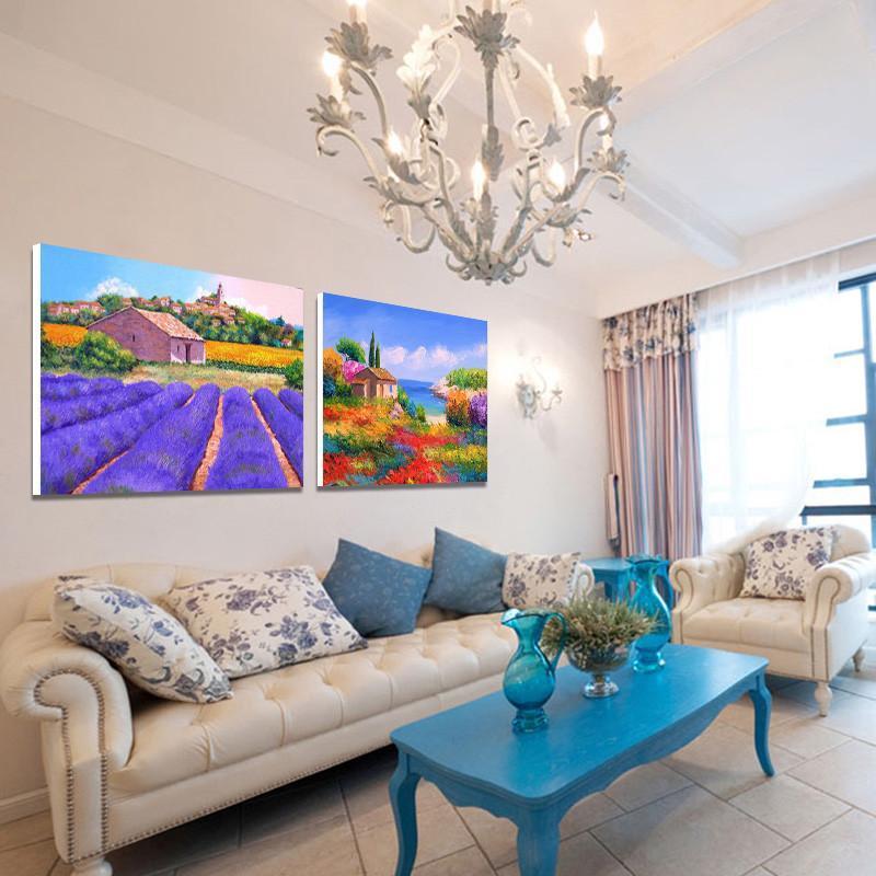现代简约沙发背景墙装饰画 客厅无框画仿油风景壁画酒店大厅挂画