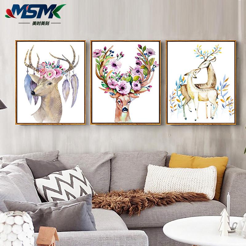 麋鹿羽毛北歐家居裝飾畫客廳沙發背景墻畫西餐廳掛畫玄關壁畫三聯